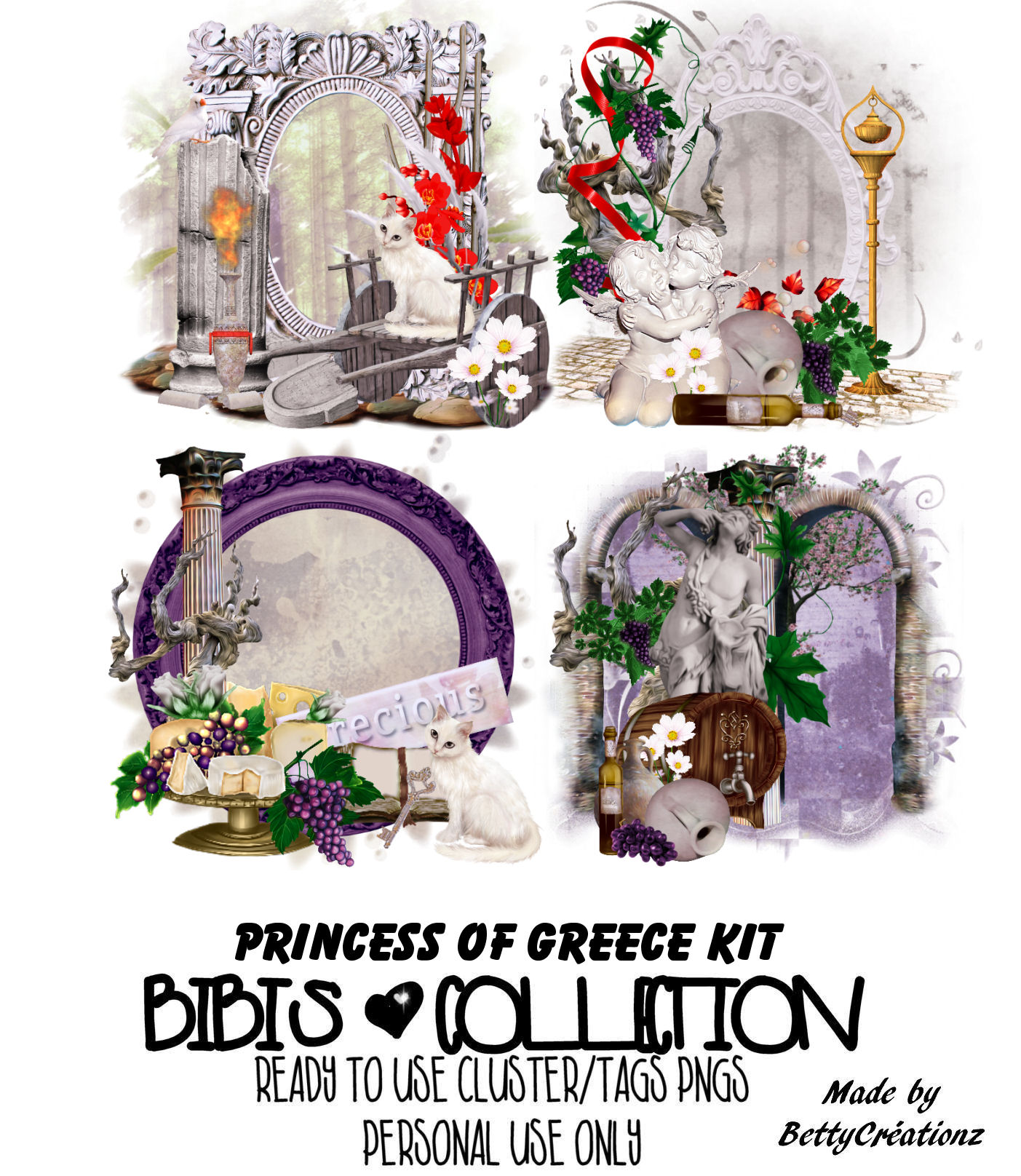 PRINCESS OF GREECE READY CLUSTER TAGS PNG